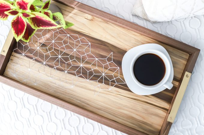 How to make a DIY wood and epoxy resin inlay coffee tray