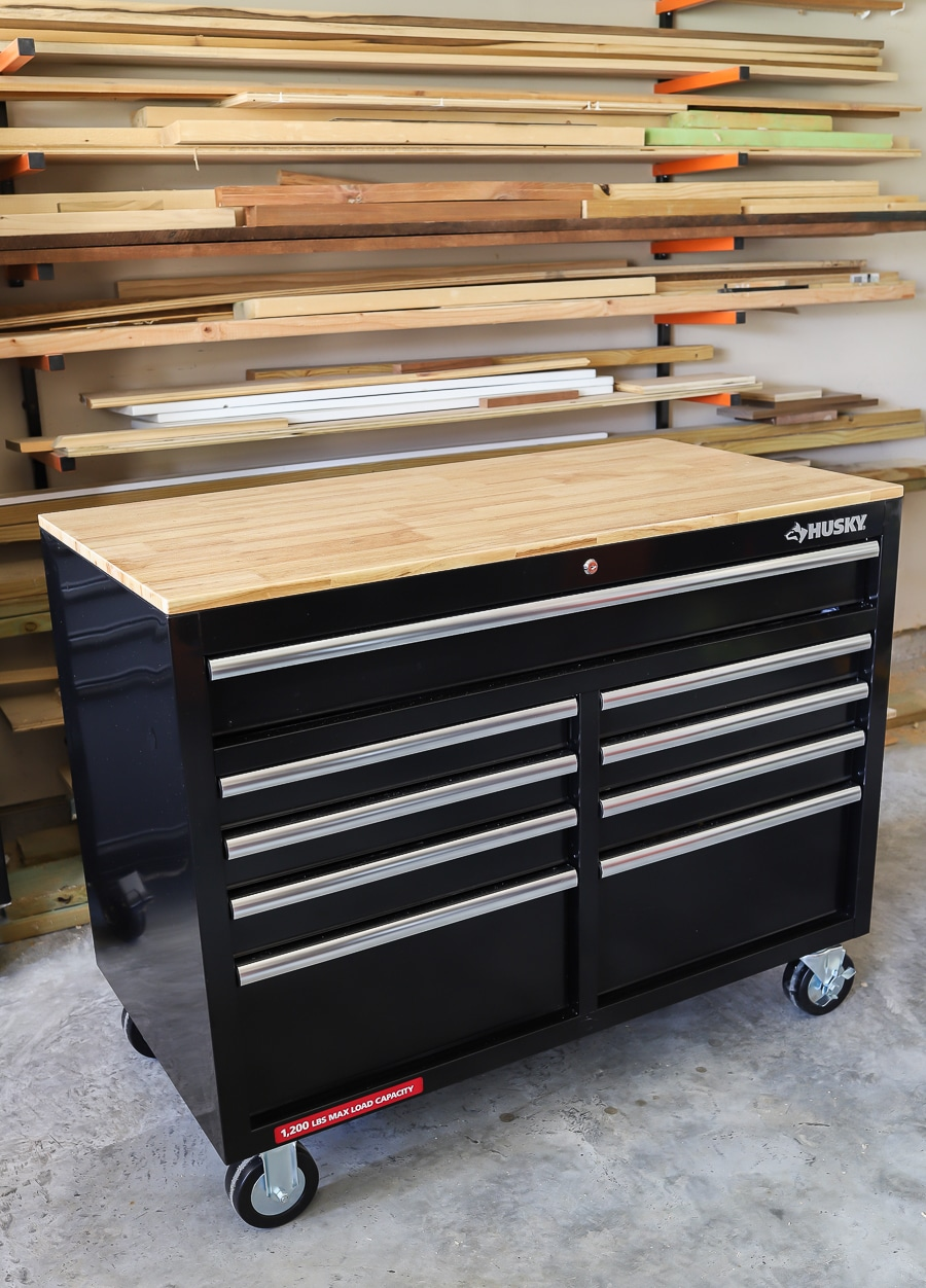 Husky Mobile Workbench Review Spacious Storage And A Solid Wood Top