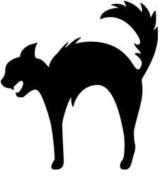 scary black cat silhouette clip art