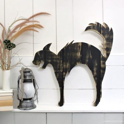 DIY Halloween Black Cat Wood Cutout