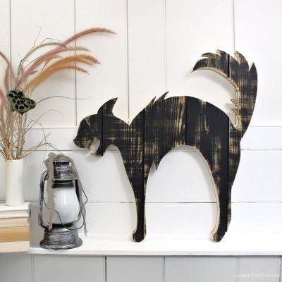 DIY Halloween Black Cat Wood Cutout