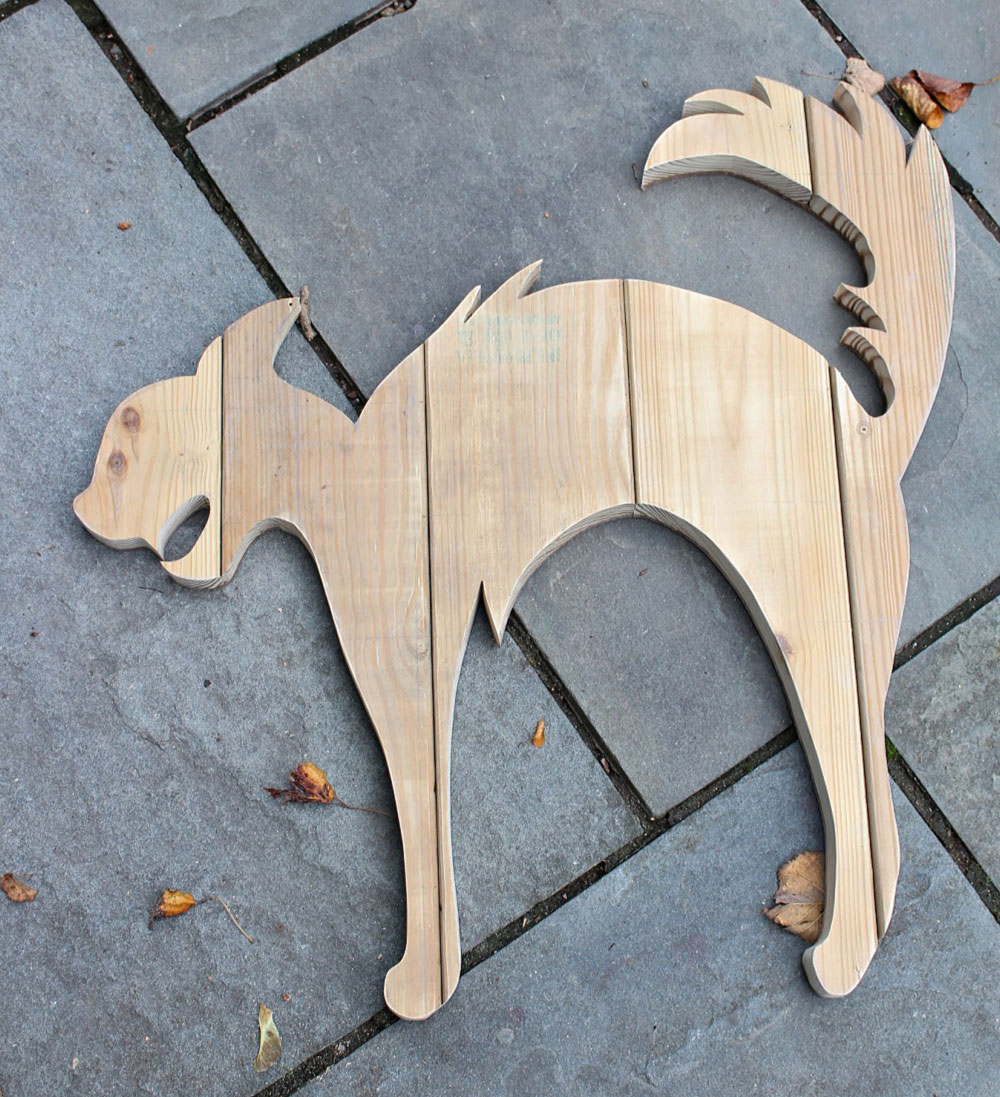 cat shape wood cut out