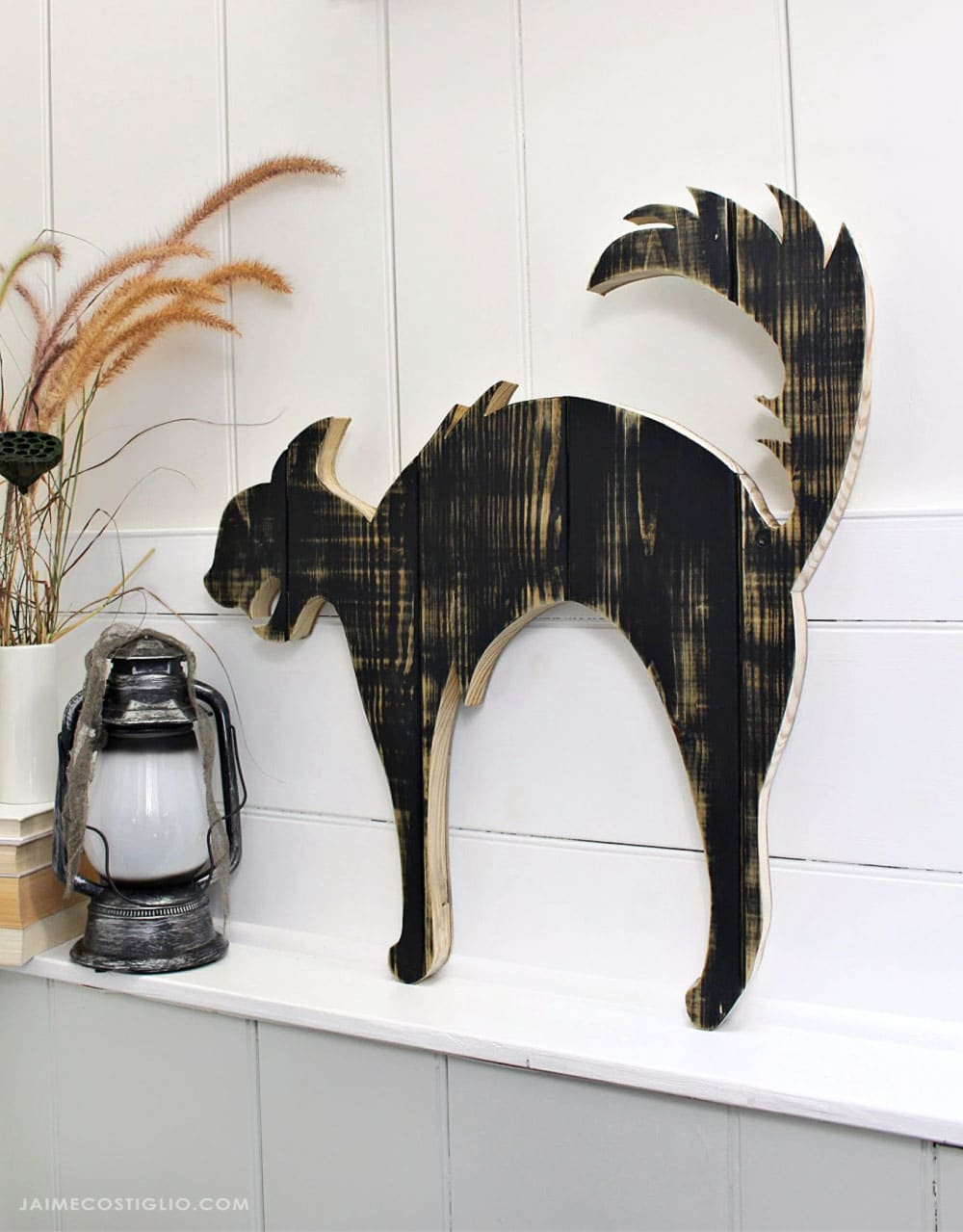 DIY black cat wood cut out silhouette