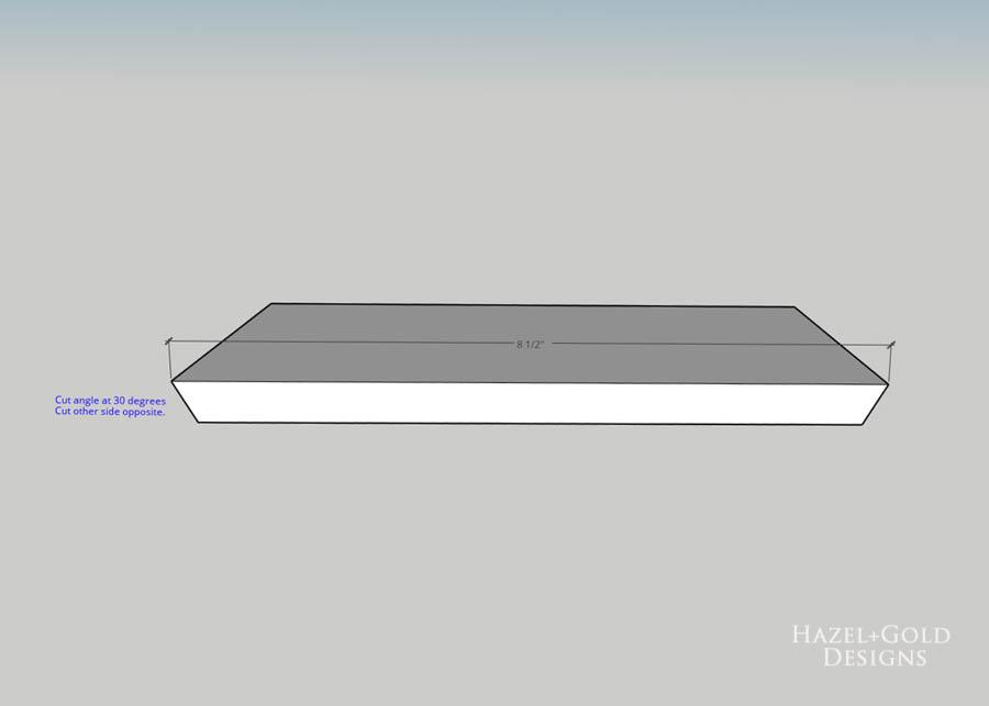 DIY Hexagon Shelf for Craft Storage- cut each board as shown