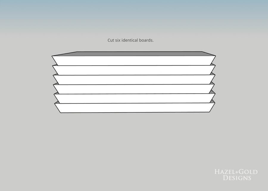 DIY Hexagon Shelf for Craft Storage- cut six identical boards