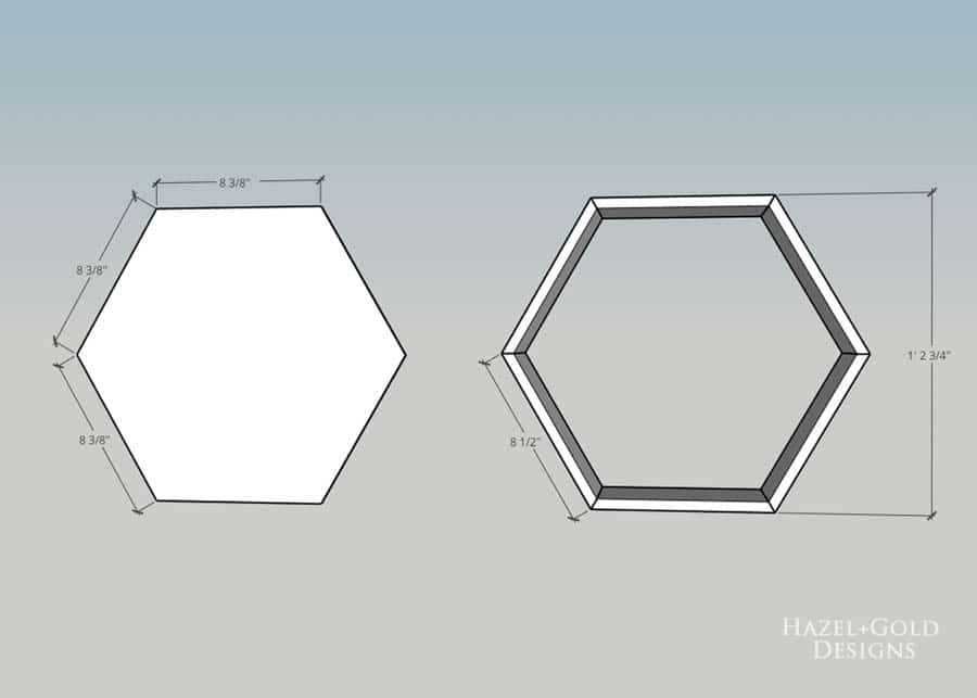 DIY Hexagon Shelf for Craft Storage- cut plywood to correct size to fit back