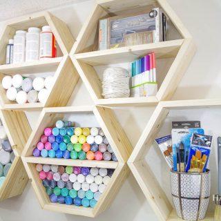 DIY Hexagon Shelves for Craft Storage