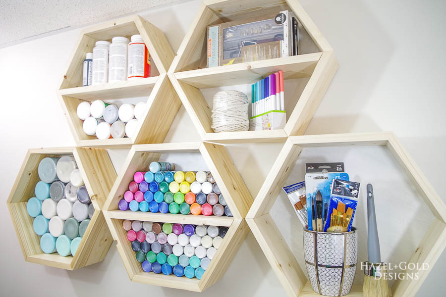 Diy Hexagon Shelves For Craft Storage The House Of Wood