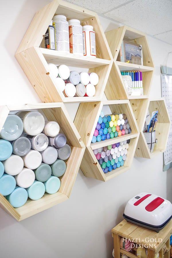 DIY Hexagon Shelf for Craft Storage- finished left side