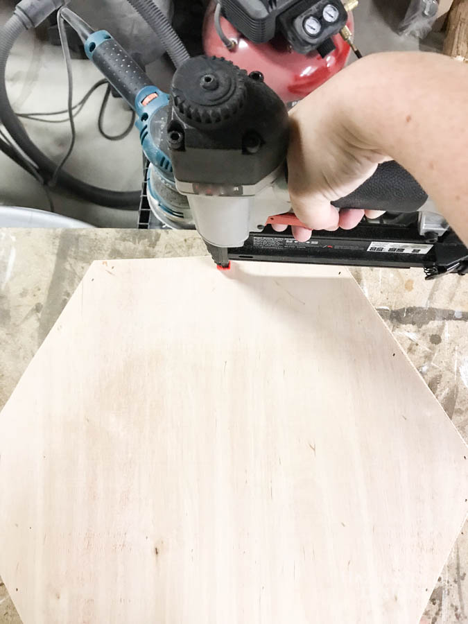 DIY Hexagon Shelf for Craft Storage- Use Brad Nailer to secure backing