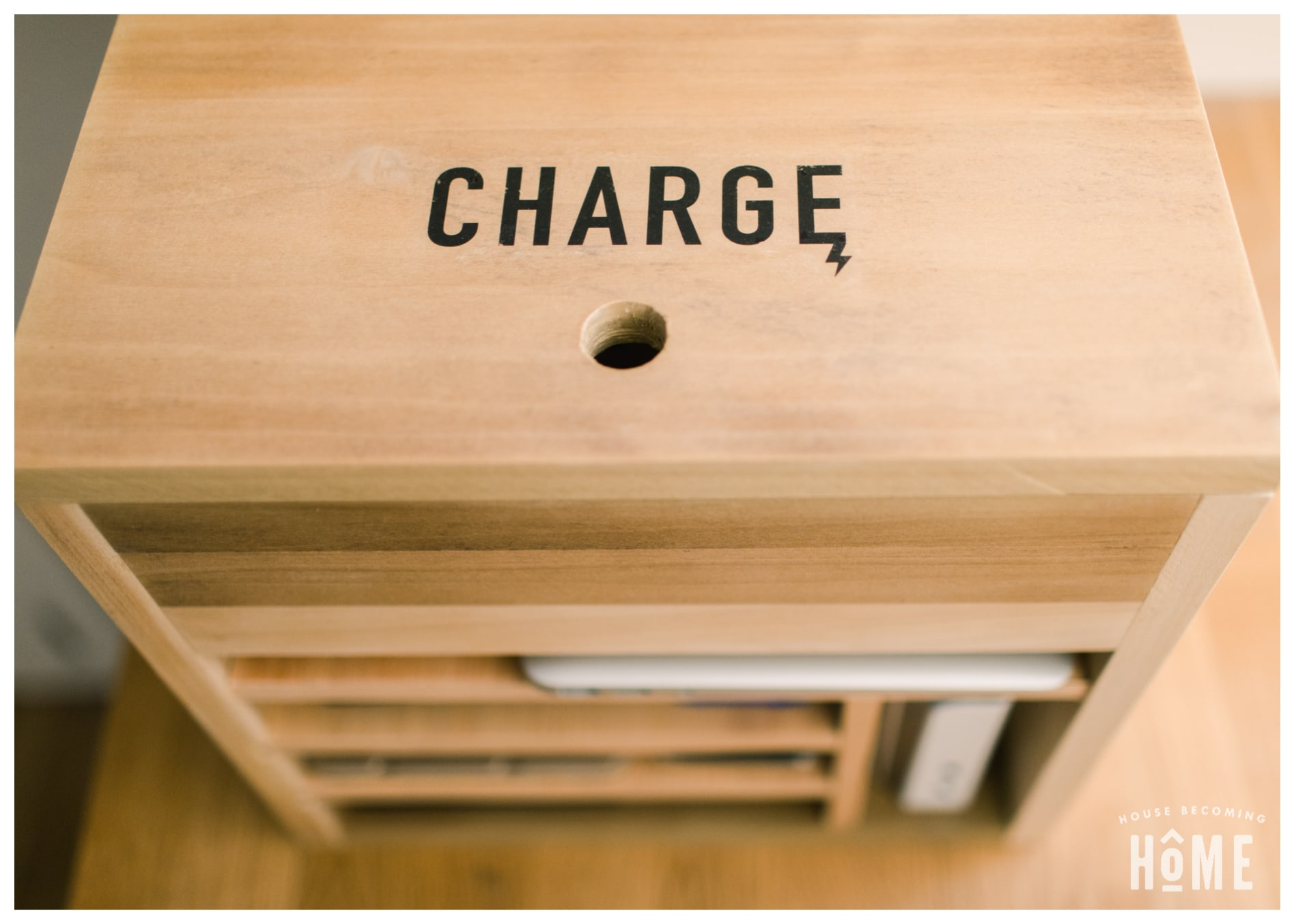 DIY Charging Station with Charge Icon Printed on Wood