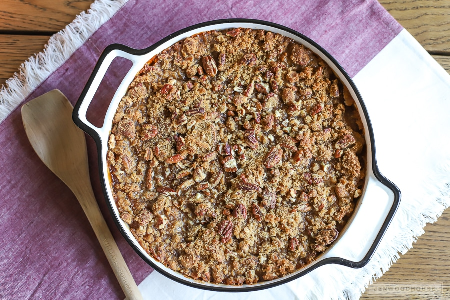 The BEST sweet potato casserole recipe with crumbly, pecan crust!