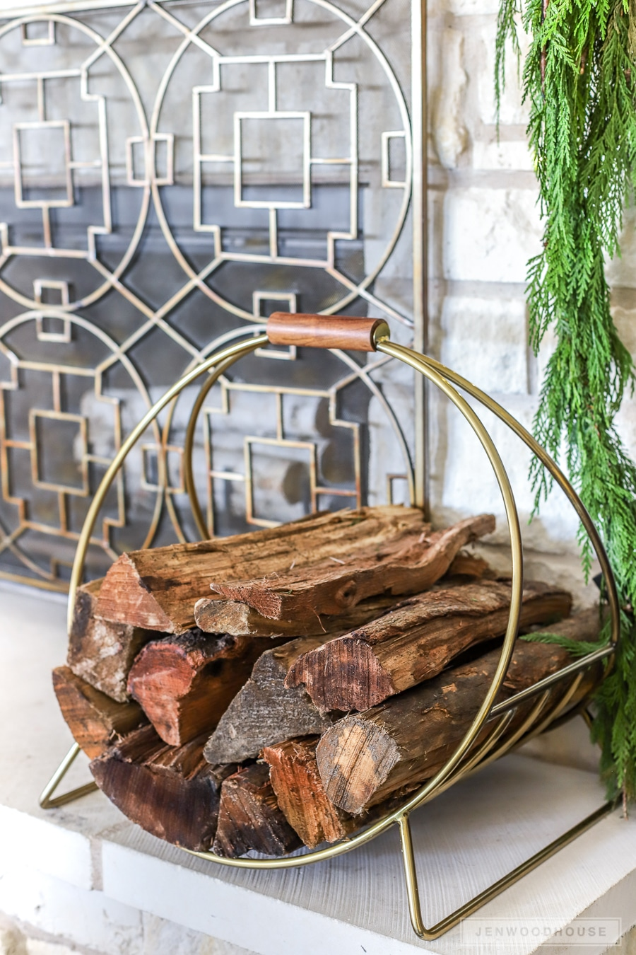 Modern fireplace log holder