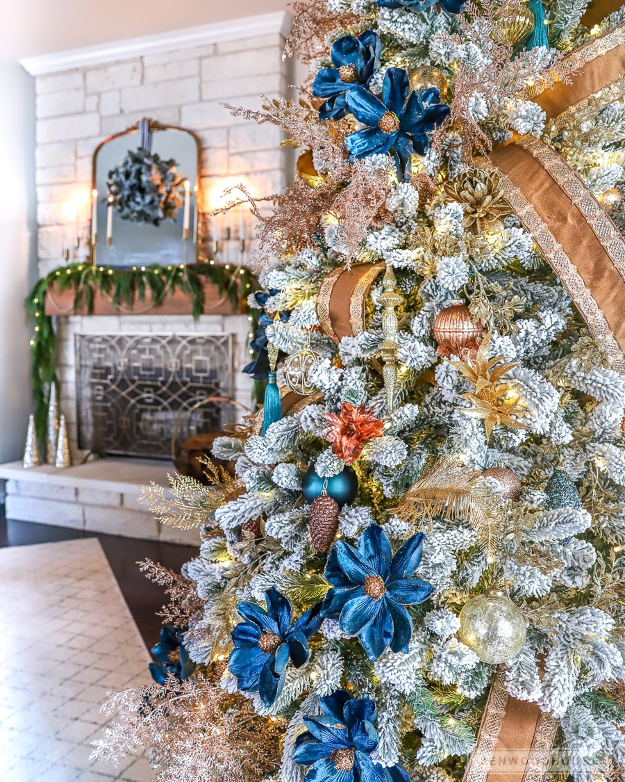 Navy blue, copper, and gold Christmas tree decor