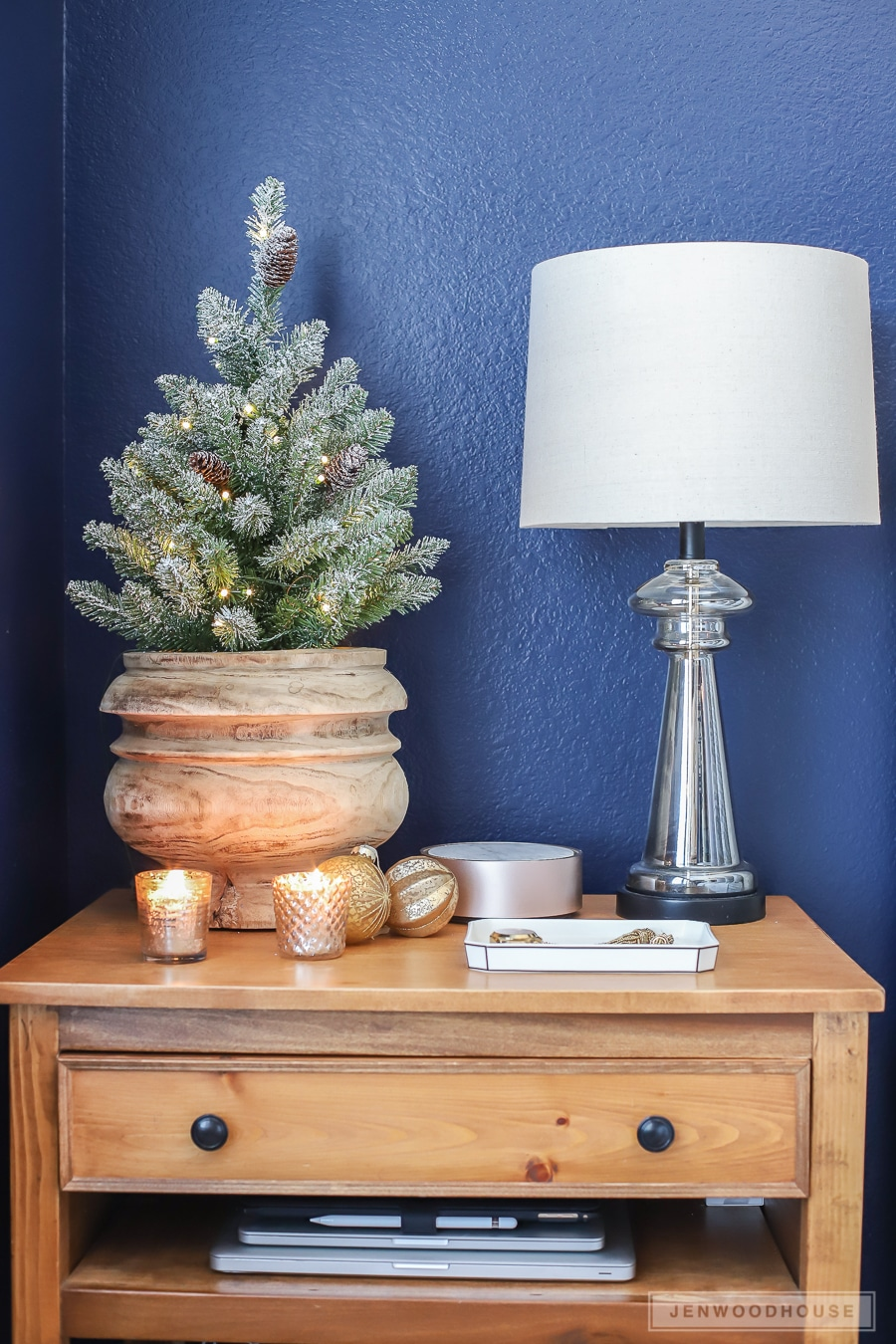 Christmas decorations on the nightstand