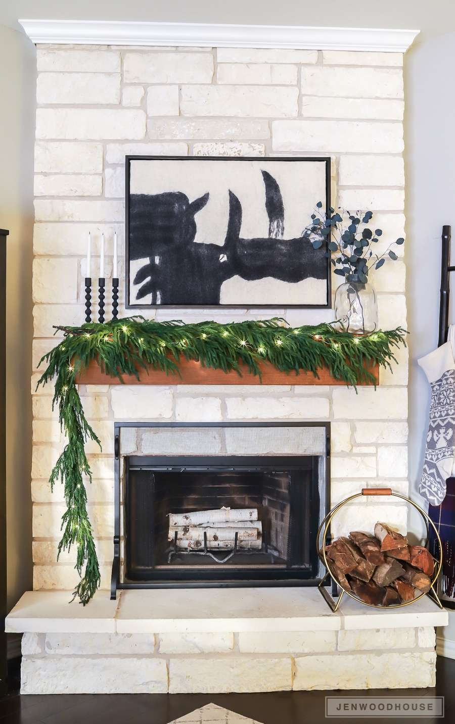 Modern minimalist mantel decorated for Christmas