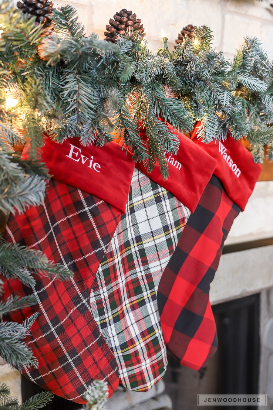 Rustic cozy cabin Christmas mantel