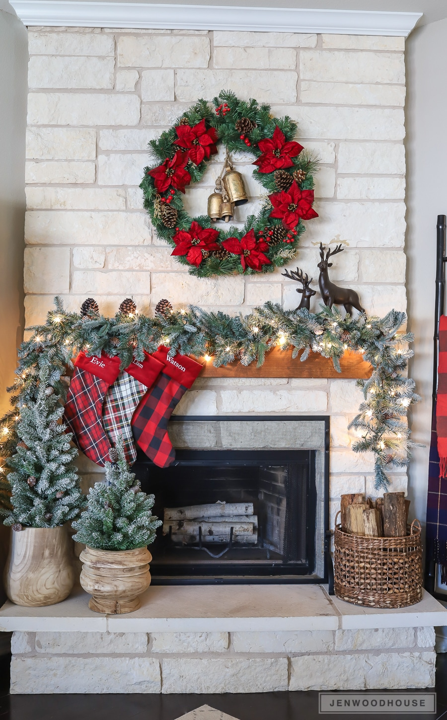 Rustic farmhouse mantel decorated for Christmas