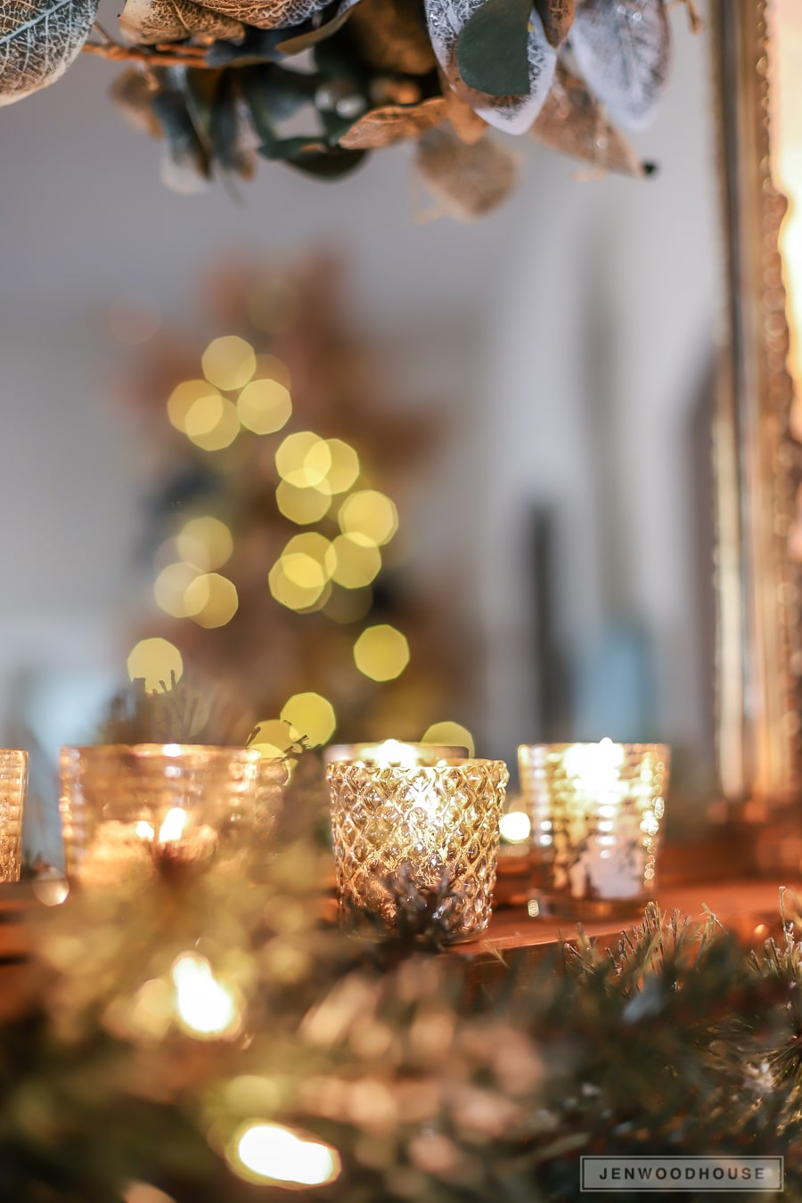 Vintage glam holiday mantel