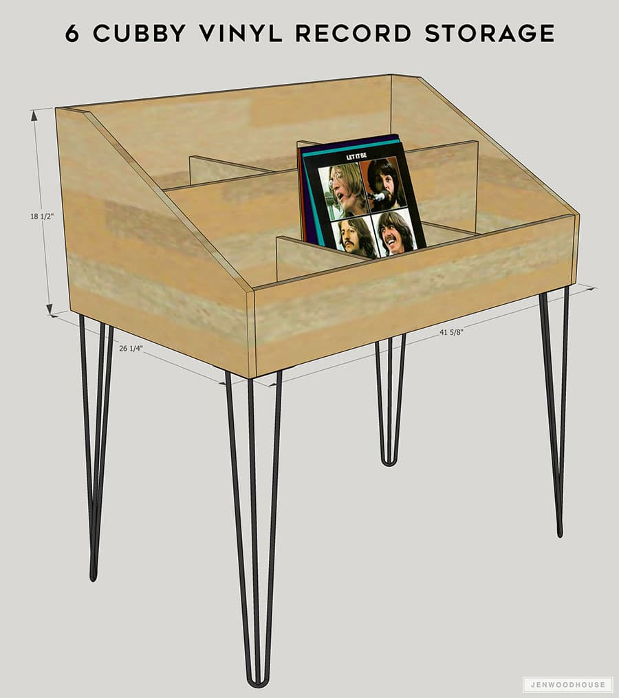 Project Plans for 6 Cubby Vinyl Record Storage