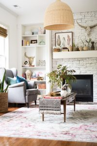 eclectic living room decor and styled coffee table
