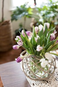 beautiful spring tulips styled on coffee table