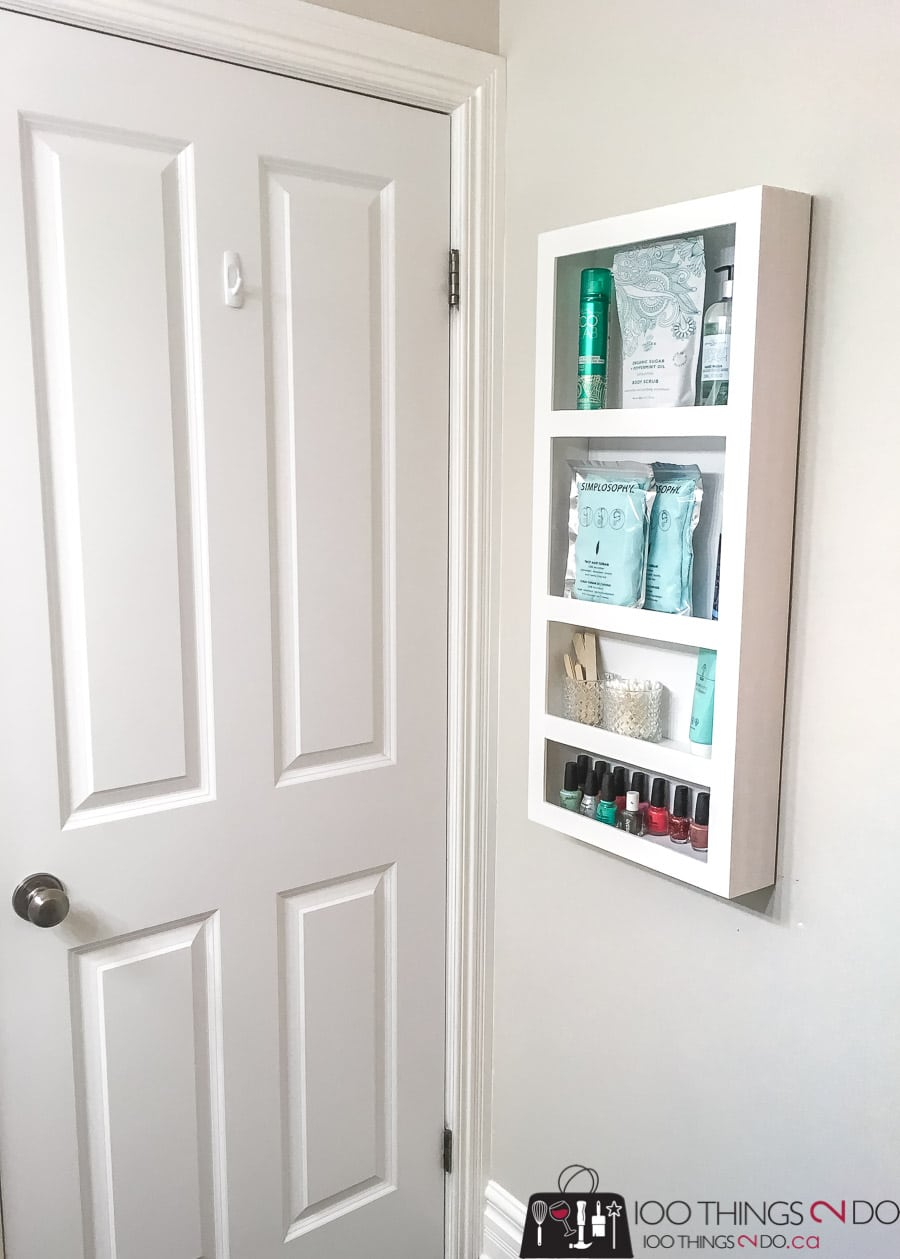 How to build a DIY Behind the Door Bathroom Storage Shelf
