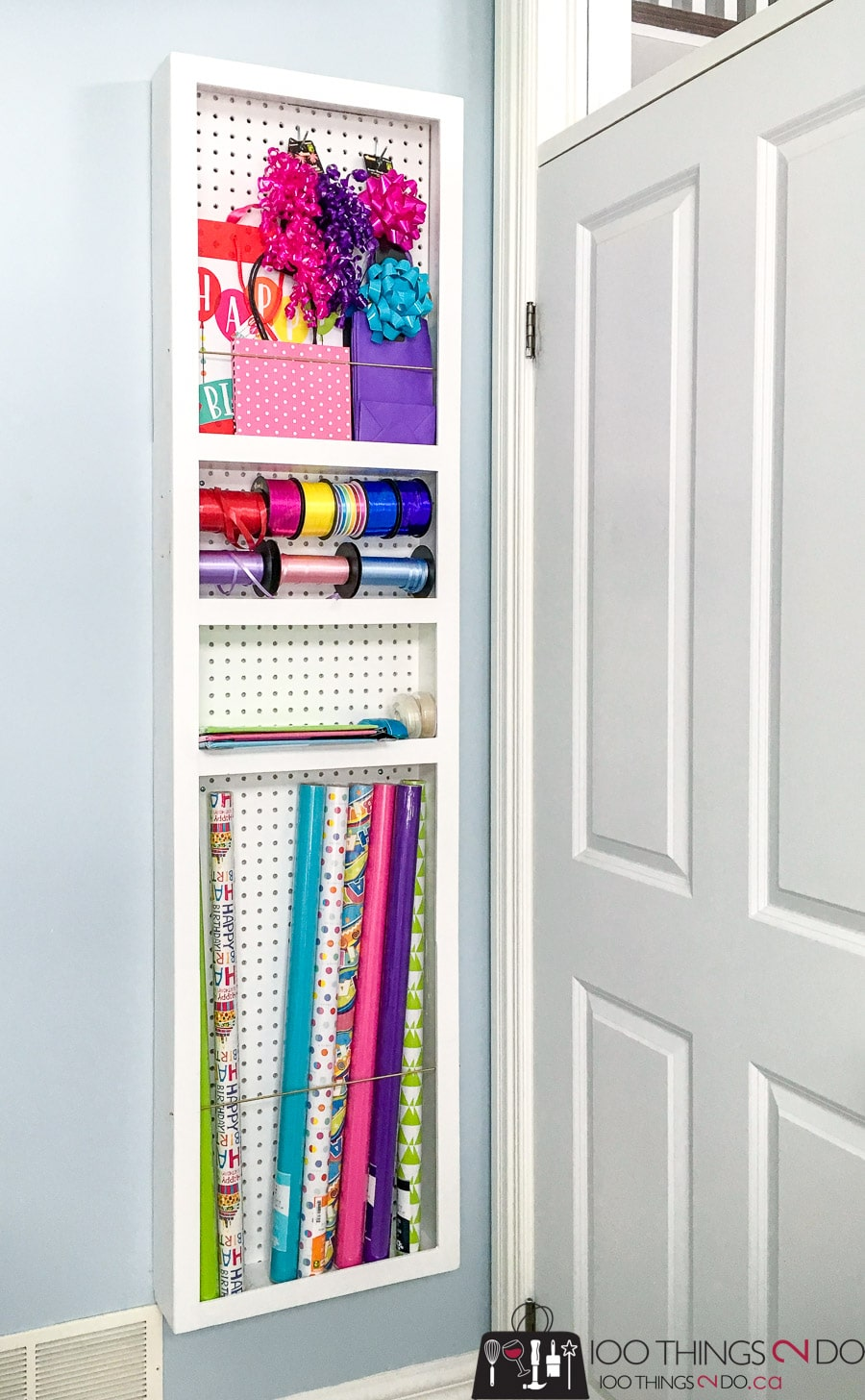 How to build a DIY behind-the-door gift wrap storage shelf