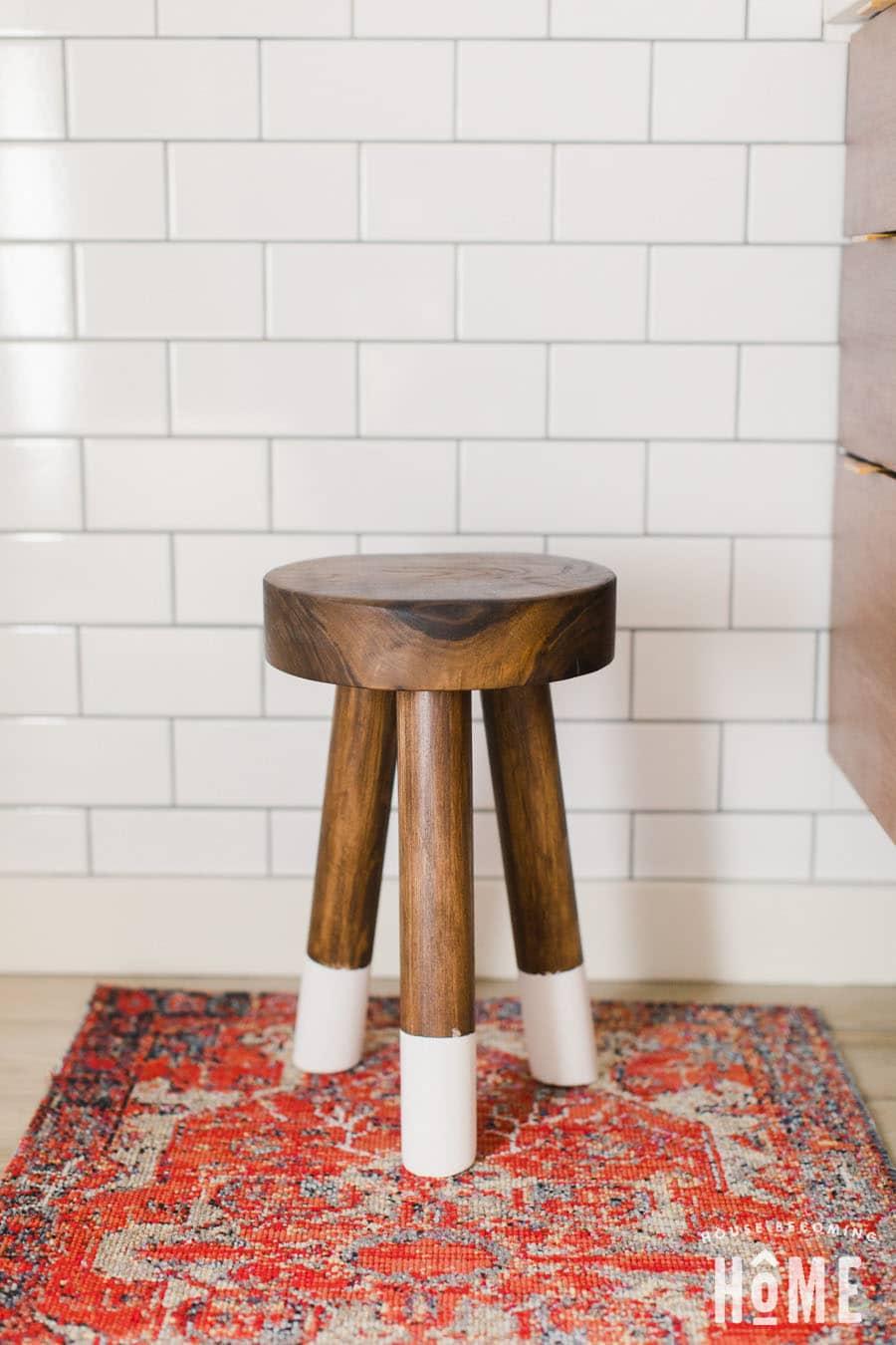 How to build a DIY three legged stool dip-dyed walnut