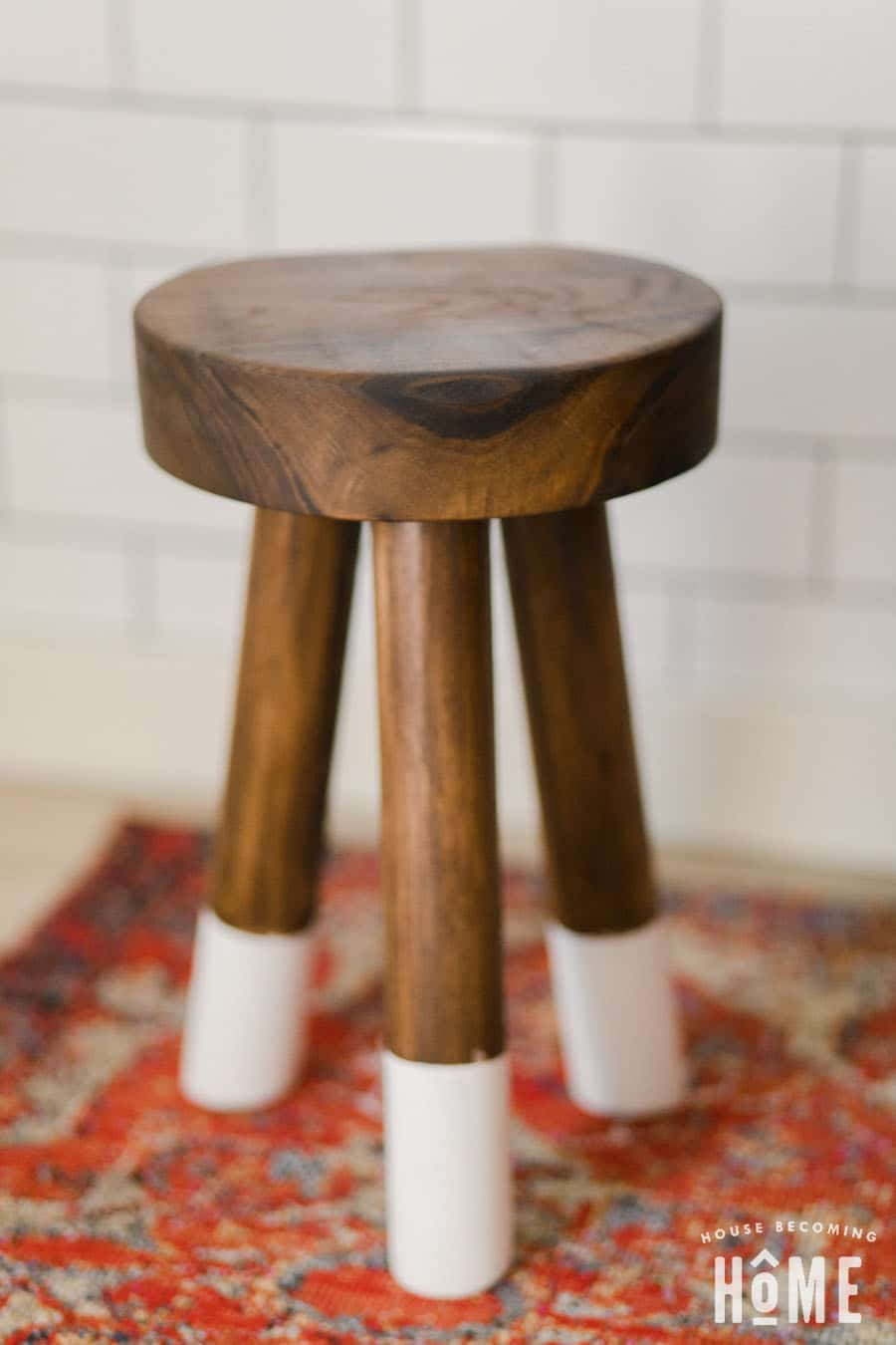 Marvelous How To Make A Diy Dip Dyed Stool Out Of Walnut Scraps And Dowels Machost Co Dining Chair Design Ideas Machostcouk