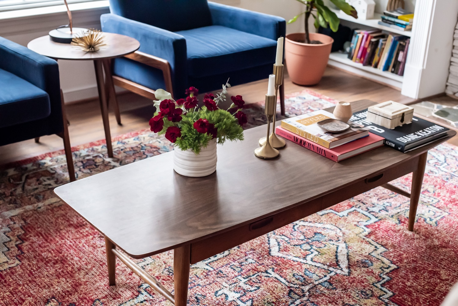florals displayed on top of coffee table
