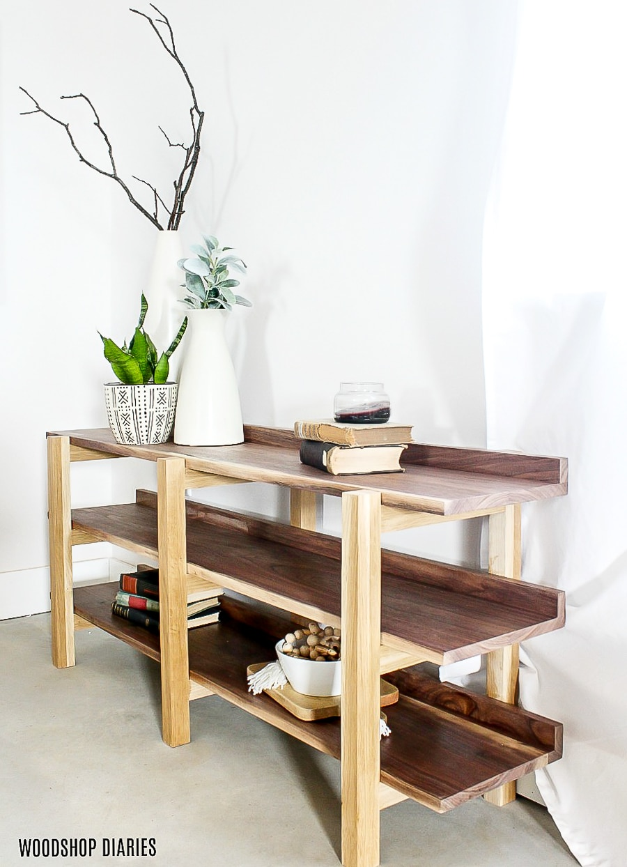 How to build a DIY triple shelf console table for less than $100!