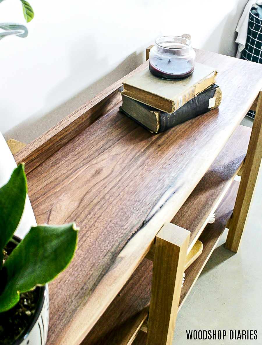 DIY Stacked Console walnut and white oak