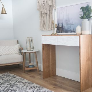 How to build a DIY waterfall console table out of white oak and poplar
