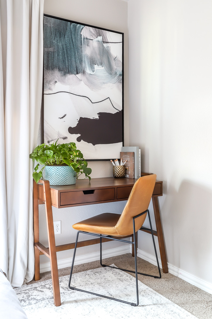 Guest bedroom makeover with desk area