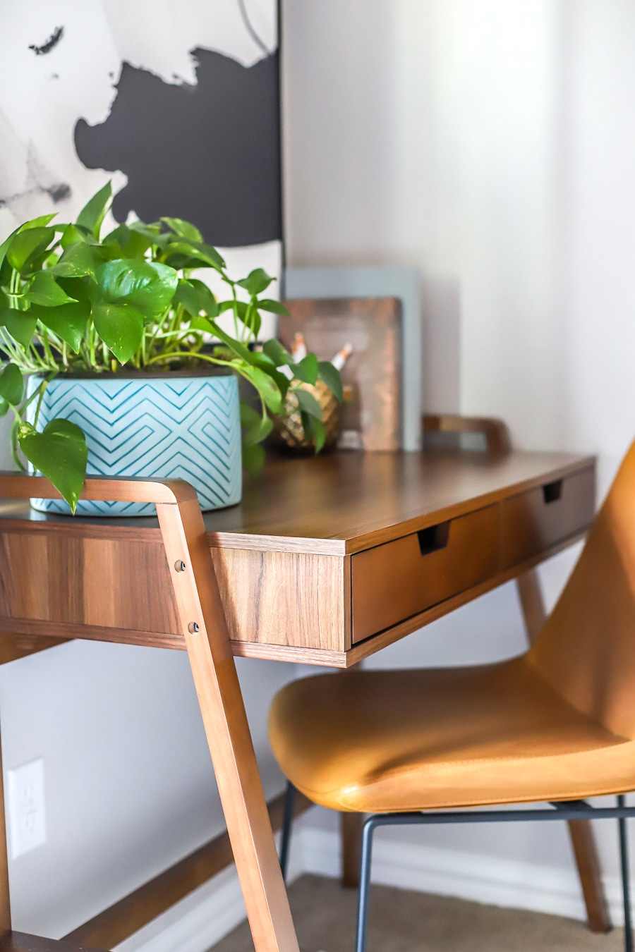 Modern mid-century home office desk and chair