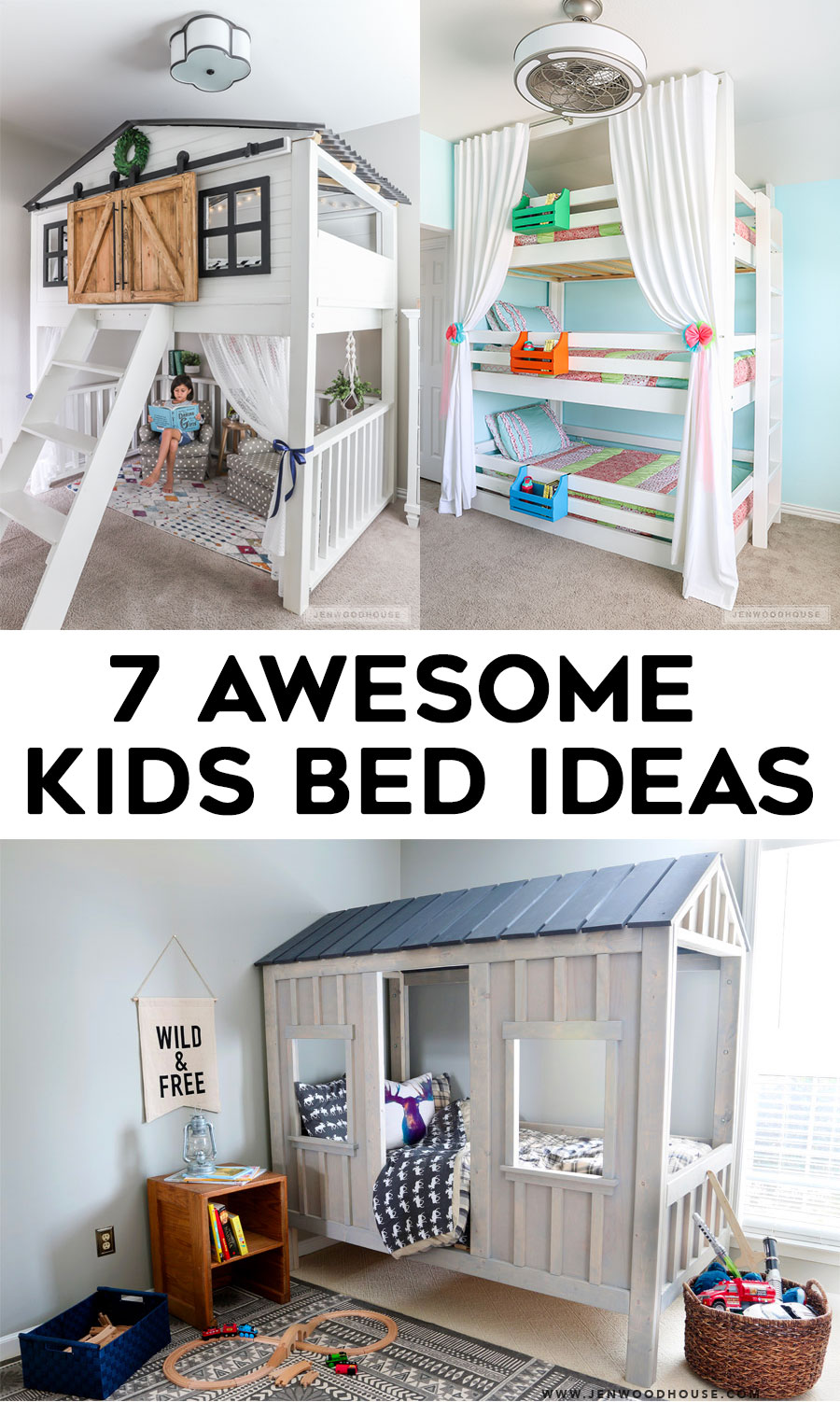7 awesome DIY kids beds - Loft beds, Bunk Beds, and more.