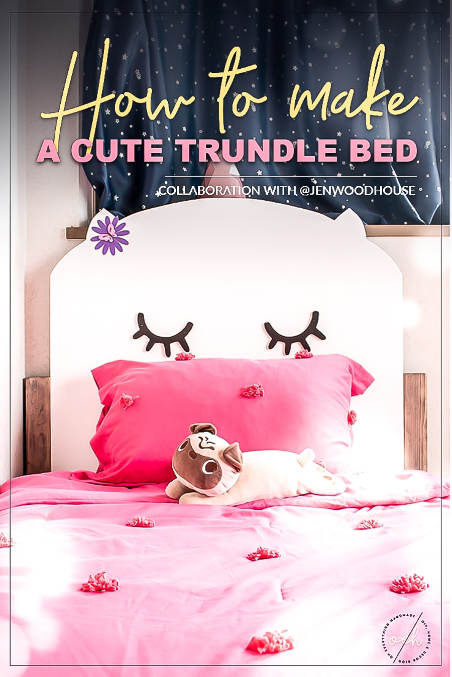 How to make a DIY twin trundle bed with a cute kitty headboard! Plans by Jen Woodhouse