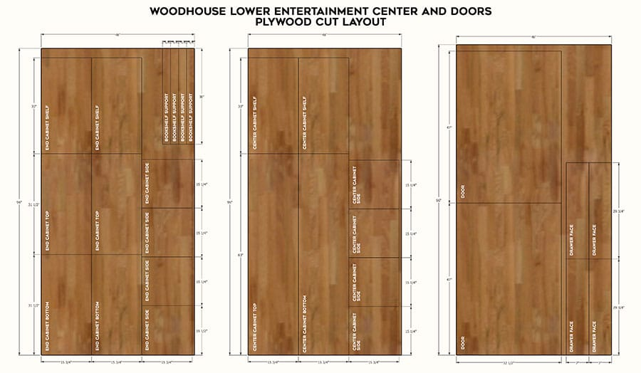DIY entertainment center plywood cut layout - plans by Jen Woodhouse