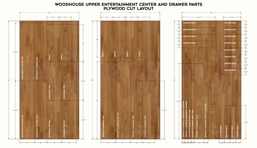 Plywood cut layout of DIY entertainment center - project plans by Jen Woodhouse