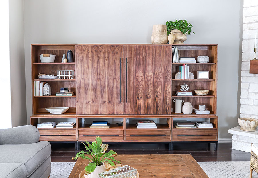 How to make a DIY media console entertainment center - PLANS by Jen Woodhouse - Arhaus-inspired Sullivan Wall Unit