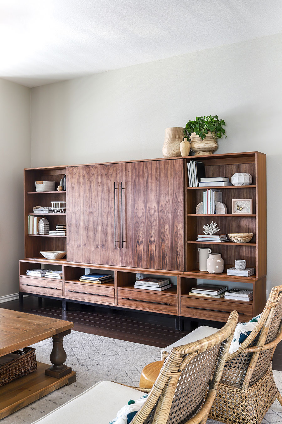 How to make a DIY entertainment center Arhaus-inspired Sullivan Wall Unit Media Center