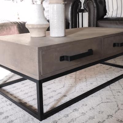 DIY Wood and Steel Coffee Table