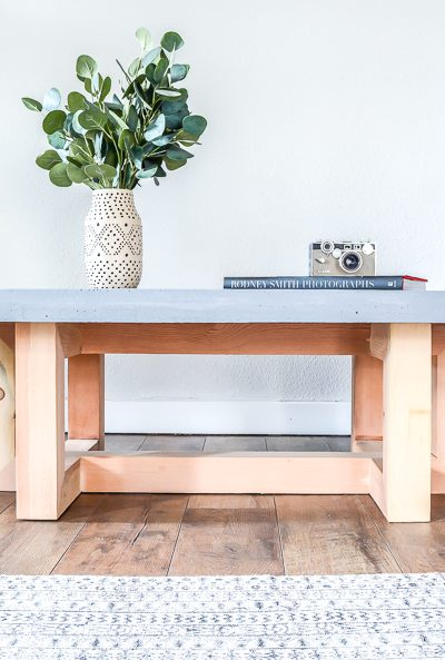 How to make a DIY coffee table with a concrete top. Free plans by Jen Woodhouse
