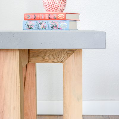 DIY Concrete and Wood Side Table