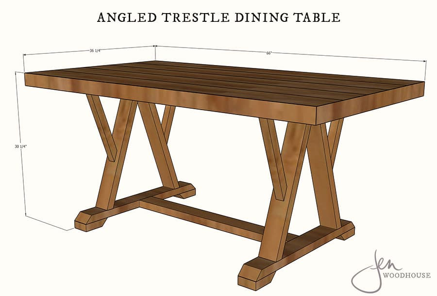 How to build a DIY dining table with angled trestle legs - free plans!