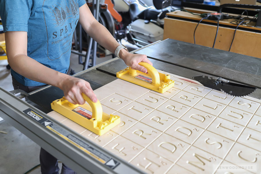 Cutting giant scrabble tiles