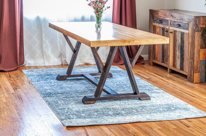 How to build a DIY trestle dining table with angled legs. Free plans by Jen Woodhouse