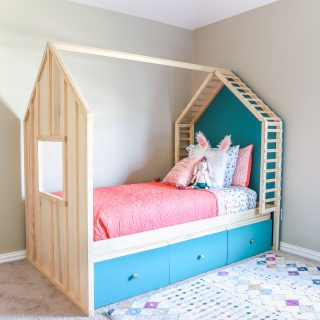 DIY Kids House Bed with Storage