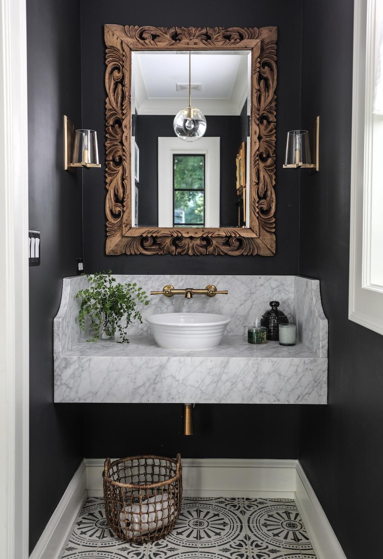 Powder bath with floating vanity